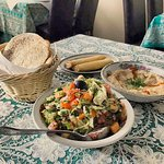 Selection of starters with pitta bread
