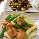 King prawn and a beef dish - spicy