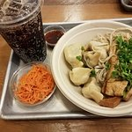 Tofu med spicy half noodles and 5 dumplings..Ginger carrot slaw..holy crapola!