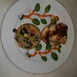 Grilled chicken with Mexican rice And grilled salmon
