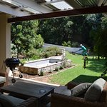 Stoep where guests can relax with our garden view