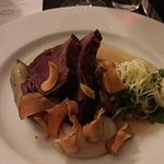 Venison with Jerusalme artichoke, sunflower seed, ginger and trufle.