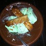 Pistachio Ice-cream with Baklava.