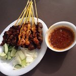 I ate satay chicken, lamb, and also beef. With 70 cents/ 1 chop