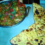 Vegan curry with roti bread
