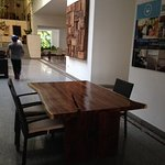 Wooden table off-side of Lobby
