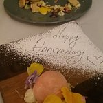 Lovely dessert and a nice touch for our anniversary meal