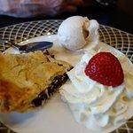 Saskatoon berry pie with ice cream & whipped cream