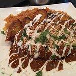 Full plate of chicken mole