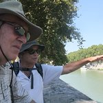 Sergio, our guide, relating information about the Tiber River.