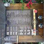 Restaurant entrance with menu card. Simple and easy to read.