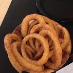 Chilling, onion rings at Duff's