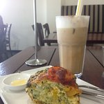 Afternoon snack at Breakwater Cafe - iced coffee and a savory (vegetable) muffin