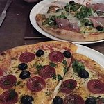 Calebrese (foreground) and the Bianca pizza....delicious!