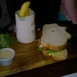 Fish Finger Sandwich on White Bread.