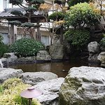 Relaxing central courtyard with koi pond