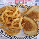Surfin' Reuben with onion rings