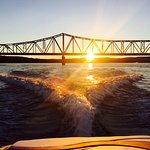 Enjoying a sunrise cruise. Kimberling City bridge, Table Rock Lake