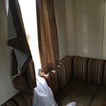 The real silver plus 3 bed caravan Curtains hanging off