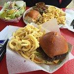 The hamburger steak plays and the hamburger and fries.