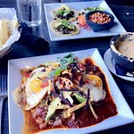 Huevos Rancheros and Mexican street tacos. Delicious and a beautiful view during fall