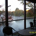 Outside dining area overlooking the lake