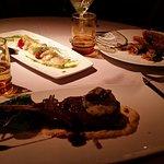 Boar with creamy polenta, and roast pheasant