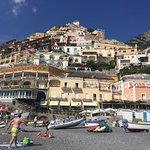 Positano beach and town
