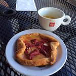 Flaky, tasty strawberry lemon curd gallette w/doppio outside people watching!