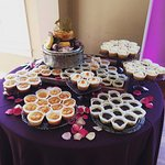Our delicious wedding cheesecake! (and beautiful display by Bobbi!)