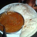Tikka masala (chicken) lunch special with basmati rice and naan