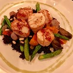 scallops on black rice