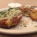 Crab Cakes with a fried green tomato, also very good