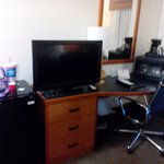 Ref, Microwave, Desk, TV. Was small for a suite.