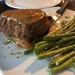 Beef filet with the green peppercorn, cream & cognac reduction and a double order of asparagus.