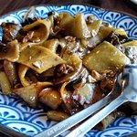 Flat noodles + beef