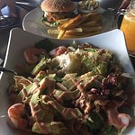 Delicious shrimp sallad and chicken fillet burger.