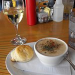 Tasty chowder and lovely biscuit