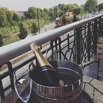 Enjoying our bubbly on the suite balcony!