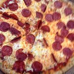 Pepperoni pizza with garlic buttered crust you must request that on the crust if you would like