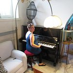 Piano in the quirky lounge area!