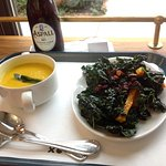 Winter squash soup and marinated kale salad