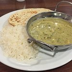 Thai green curry with rice and roti