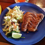Grilled Grouper with Greens and Blackened Grouper with Island Slaw - unbelievably awesome