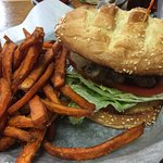 Mushroom burger, blue bacon burger, sweet potato fries