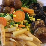 A delicious vegan meal put together by the chef, on request. Thank you Wharf Hotel.