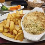 Stilton and Veg crumble, and amazing Chips with a side of veg