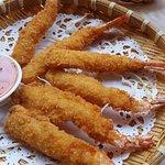 Fried butterfly prawns