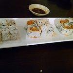 Combo B: california, tuna and spicy salmon rolls.