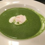 watercress soup and poached egg